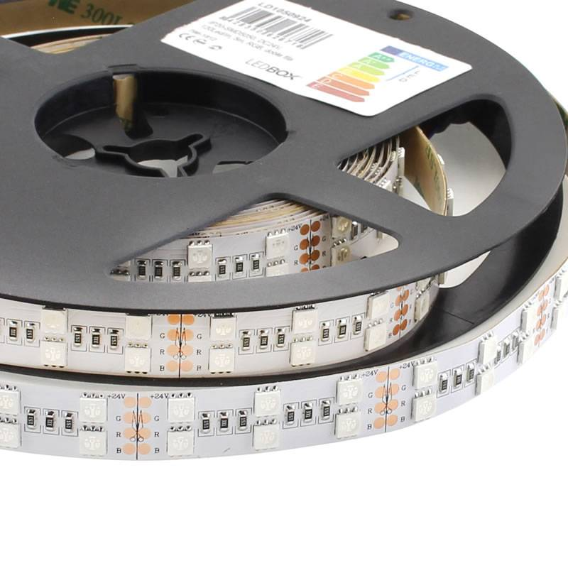 Tira LED EPISTAR SMD5050, RGB, DC24V, 5m (120 Led/m 2 filas) - IP20, RGB